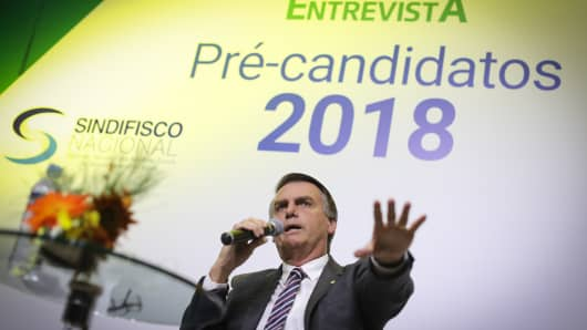 Jair Bolsonaro, presidential candidate for Brazil's Social Liberal Party (PSL), speaks during an event hosted by the Correio Braziliense newspaper in Brasilia, Brazil, on June 6, 2018.