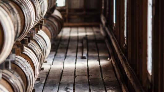Barrels sit in a rickhouse at the Jack Daniel's distillery in Lynchburg, Tennessee.