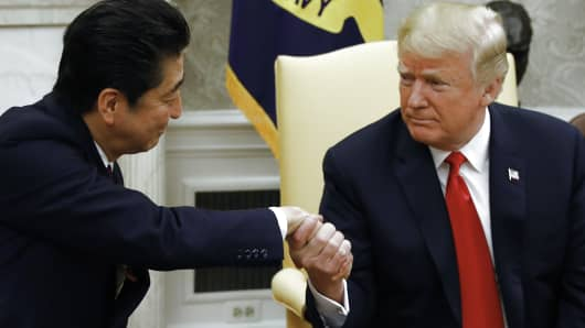 U.S. President Donald Trump meets with Japanese Prime Minister Shinzo Abe in the Oval Office of the White House on June 7, 2018.