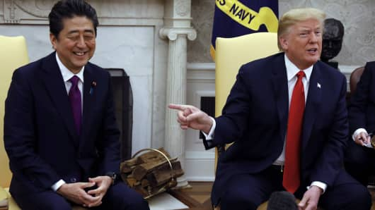 U.S. President Donald Trump (R) meets with Japanese Prime Minister Shinzo Abe in the Oval Office of the White House on June 7, 2018.