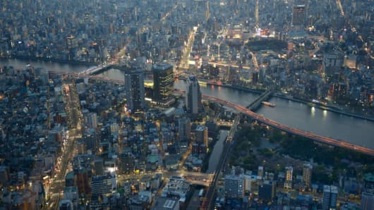 Aerial view of Tokyo from the Skytree Tower, a broadcasting, restaurant, and observation tower in Sumida, Tokyo on March 17, 2015.