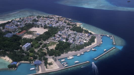 An aerial view of the Maldives' capital Male on January 1, 2005.