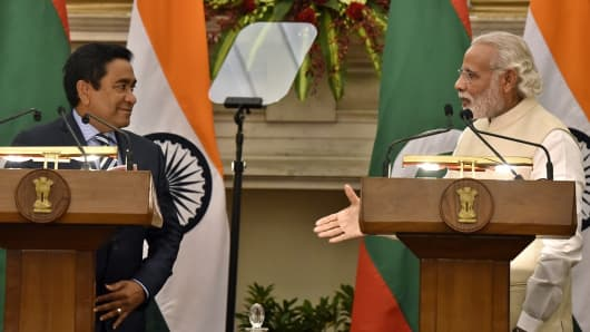 Indian Prime Minister Narendra Modi and Maldives Abdulla Yameen at Hyderabad House on April 11, 2016, in New Delhi, India.