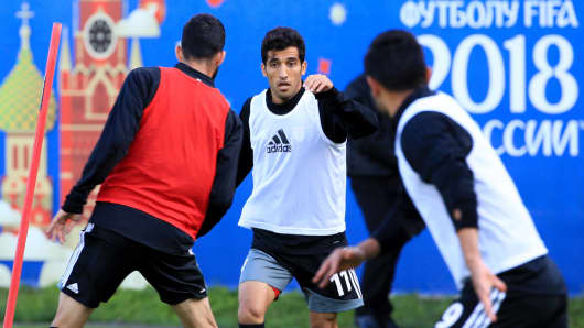Vahid Amiri (C) of the Iran national football team during a training session at Lokomotiv Bakovka Training Centre, on June 6, 2018, ahead of the 2018 FIFA World Cup in Russia.