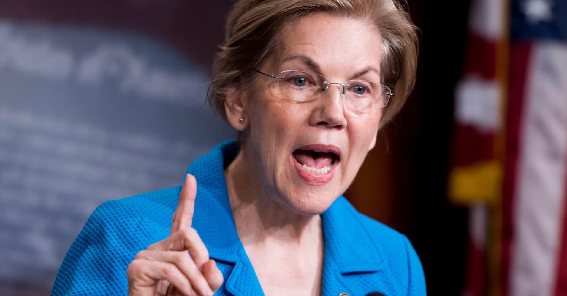 Sen. Elizabeth Warren pushes to break up big tech companies like Amazon and Facebook