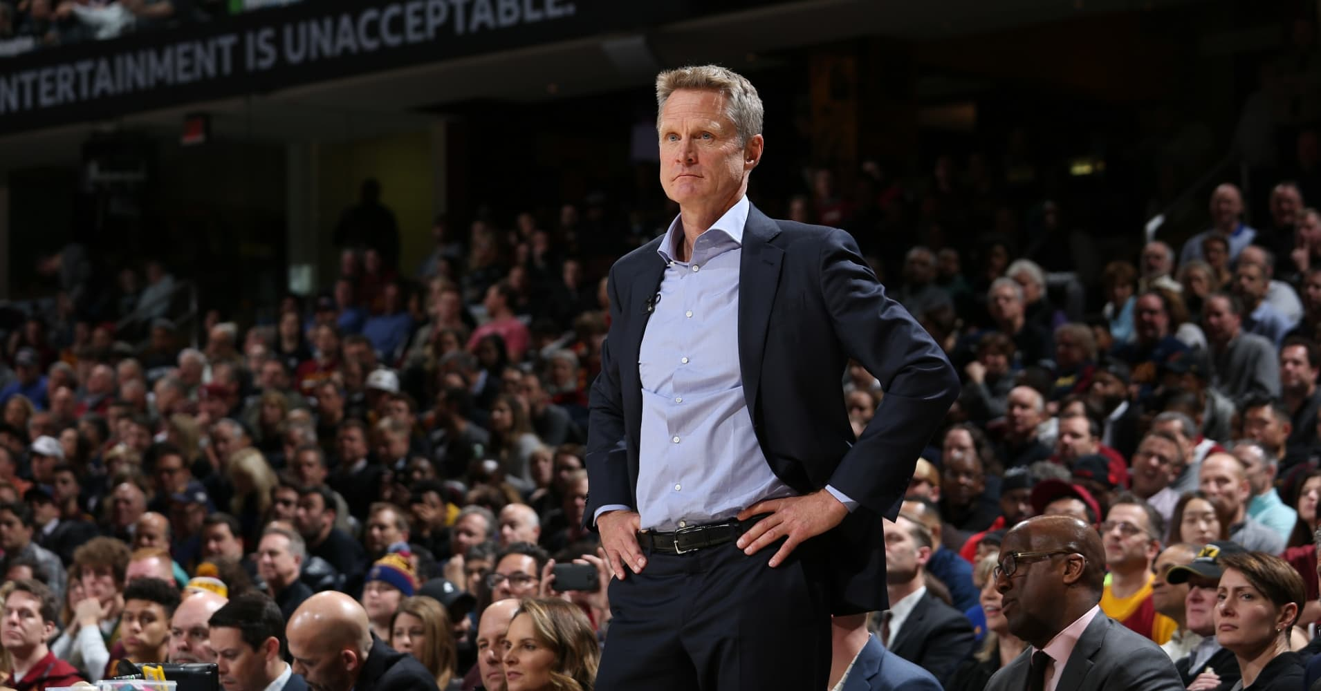 Head Coach Steve Kerr of the Golden State Warriors looks on during the game against the Cleveland Cavaliers on January 15, 2018 at Quicken Loans Arena in Cleveland, Ohio.
