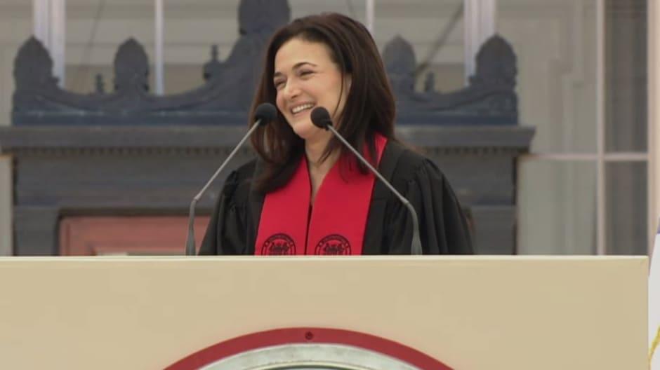 Sandberg speaks at MIT's commencement ceremony.