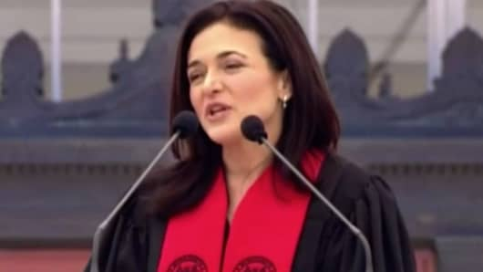 Sheryl Sandberg speaking at the M.I.T. commencement on June 8th, 2018.