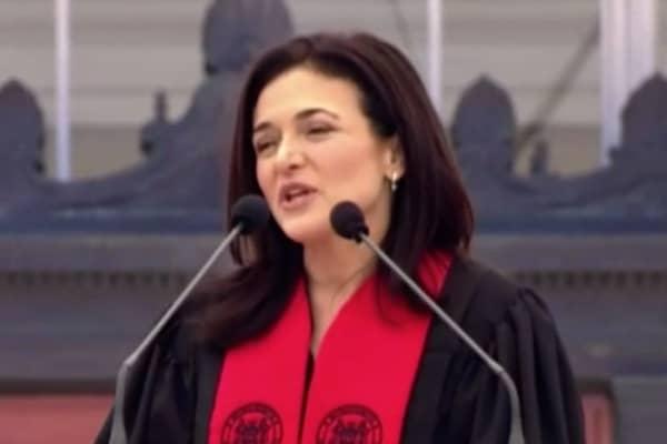 Sheryl Sandberg speaking at the M.I.T. commencement on June 8th, 2018.