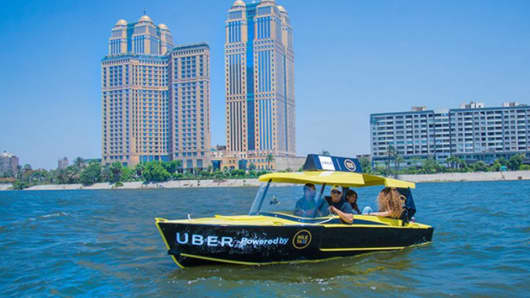 Uber boat launches in Cairo, Egypt.