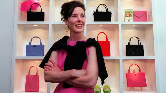 735549e59011 Designer Kate Spade poses for a portrait in her new handbag store on  Newbury Street in