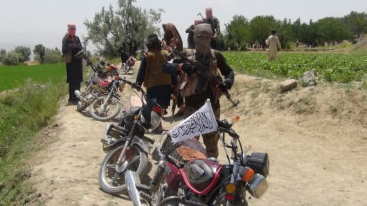 Fighters with Afghanistan's Taliban militia stand with their weapons in Ahmad Aba district on the outskirts of Gardez, the capital of Paktia province, on July 18, 2017.