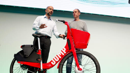 Dara Khosrowshahi, CEO of Uber and Christoph Keese, CEO Axel Springer ecosystem present the new City Bike Sharing service of UBER called Jump at the 2018 NOAH conference on June 6, 2018 in Berlin, Germany.