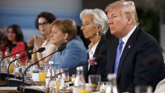 U.S. President Donald Trump at the G7 Leaders Summit in La Malbaie, Quebec, Canada, on June 9, 2018.