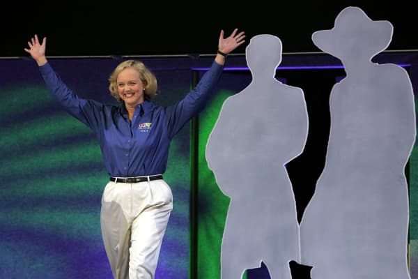 eBay President and CEO Meg Whitman delivers a keynote address at the 2005 eBay Live! conference June 23, 2005 in San Jose, California.
