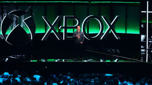 Phil Spencer, Executive President of Gaming at Microsoft, addresses the audience at the Xbox 2018 E3 briefing in Los Angeles, California on June 10, 2018, ahead of the 24th Electronic Entertainment Expo.