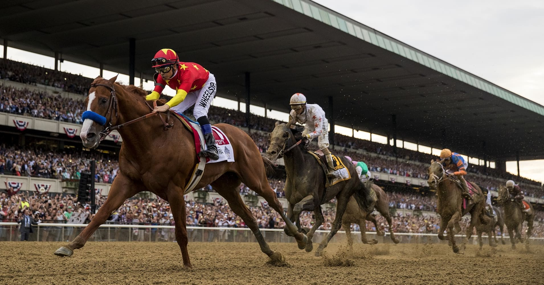 Justify #1 with Mike Smith aboard defeats Gronkowski #6 Jose Ortiz to win the 150th Belmont Stakes
