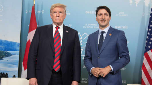 Canada's Prime Minister Justin Trudeau (R) meets with U.S. President Donald Trump during the G7 Summit in the Charlevoix town of La Malbaie, Quebec, Canada, June 8, 2018.