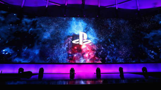 Sony Playstation logos are displayed during the Sony Playstation E3 conference at LA Center Studios on June 11, 2018 in Los Angeles, California.