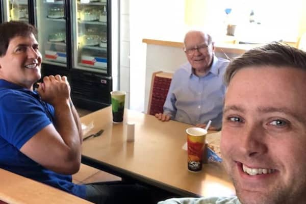 Mark Cuban, Warren Buffett and Clark Ruby at Dairy Queen on June 11, 2018.