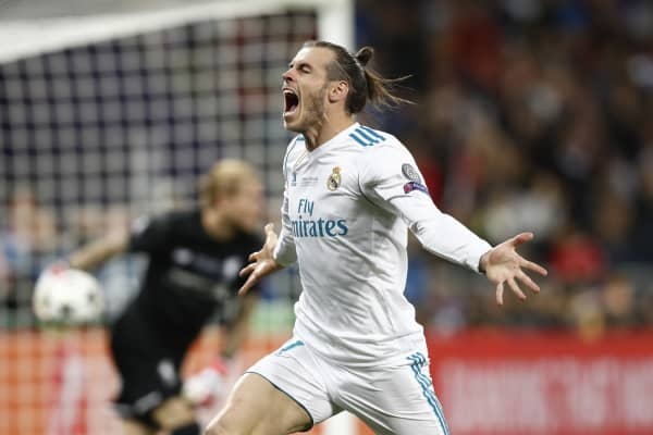 Gareth Bale of Madrid celebrates after scoring during the UEFA Champions League Final match between Real Madrid and Liverpool at the Olympic Stadium in Kiev, Ukraine on May 26, 2018.