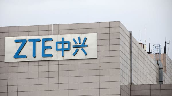 Signage is displayed at the ZTE headquarters in Shenzhen, China, on Monday, June 4, 2018.