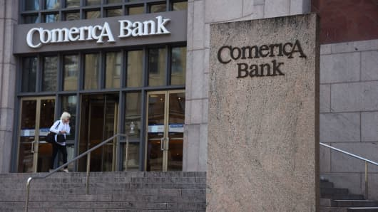 A customer enters Comerica Inc. Bank headquarters in Dallas, Texas.