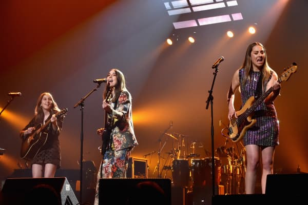 Alana Haim, Danielle Haim and Este Haim of Haim perform onstage at MusiCares Person of the Year honoring Fleetwood Mac at Radio City Music Hall on January 26, 2018 in New York City.