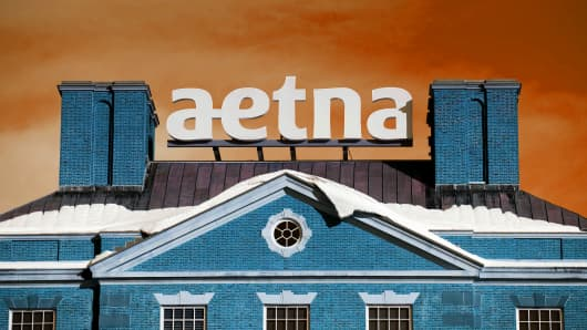 Snow covers the roof of Aetna Inc. corporate headquarters in Hartford, Connecticut.