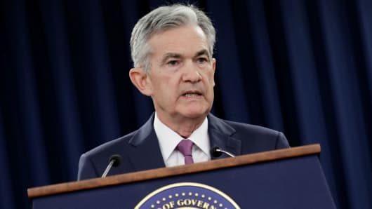 Federal Reserve Board Chairman Jerome Powell speaks after a meeting of the Federal Open Market Committee (FOMC) on interest rate policy in Washington, June 13, 2018.