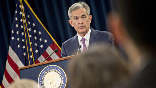 Jerome Powell, chairman of the U.S. Federal Reserve, speaks during a news conference following a Federal Open Market Committee (FOMC) meeting in Washington, D.C., U.S., on Wednesday, June 13, 2018.
