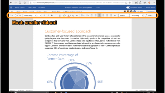 The new look of the online version of Microsoft Word.