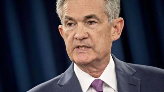 Jerome Powell, chairman of the U.S. Federal Reserve, speaks during a news conference following a Federal Open Market Committee (FOMC) meeting in Washington, D.C., on Wednesday, June 13, 2018.