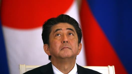 Japanese Prime Minister Shinzo Abe at a press conference at the Kremlin on May 26, 2018 in Moscow, Russia.