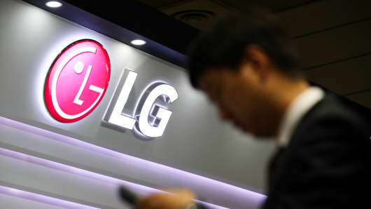 The LG Electronics logo is seen at the World IT Show in Seoul, South Korea, on May 23, 2018.