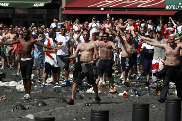England fans lashed with police ahead of a game against Russia in the Euro 2016 tournament in Marseille, France.