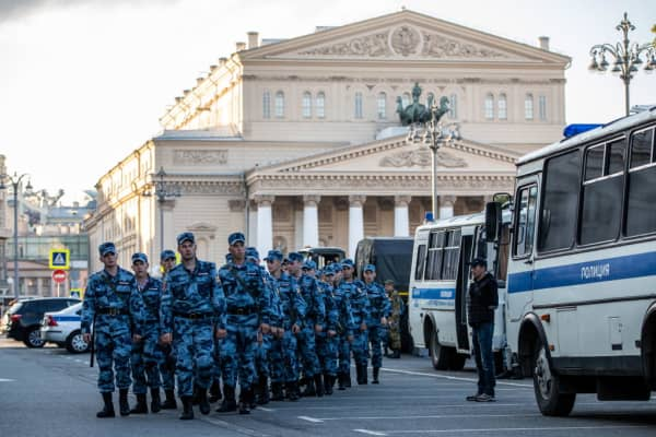 Russian National Guard officers by the Bolshoi Theatre in central Moscow ahead of the 2018 FIFA World Cup.
