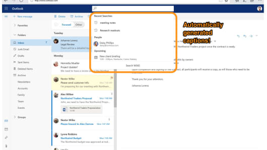 The new look for search in the online version of Outlook.