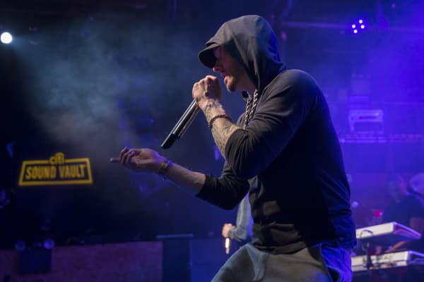 Eminem performing at Citi's Sound Vault show in New York City in January 2018