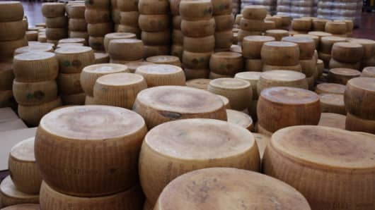 Forms of Parmesan in aging warehouses of Parmesan and Grana Padano on January 01, 2012 in Fiorenzuola d'Arda.
