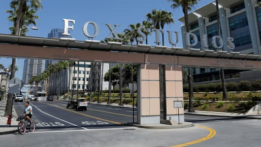 An entrance to the Fox Studios is shown in Los Angeles.