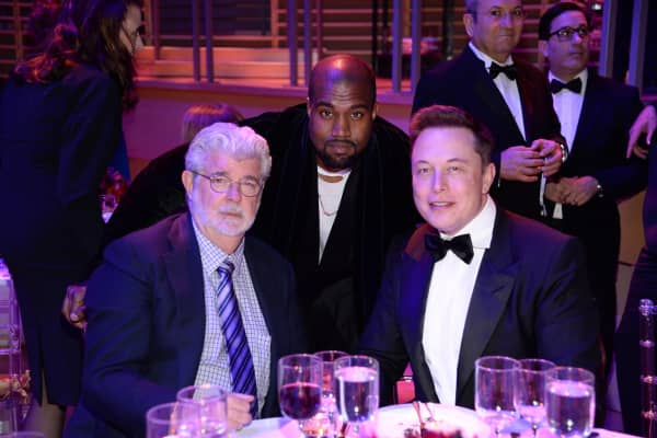 George Lucas, Kanye West and Elon Musk attend TIME 100 Gala, TIME's 100 Most Influential People In The World at Jazz at Lincoln Center on April 21, 2015 in New York City.