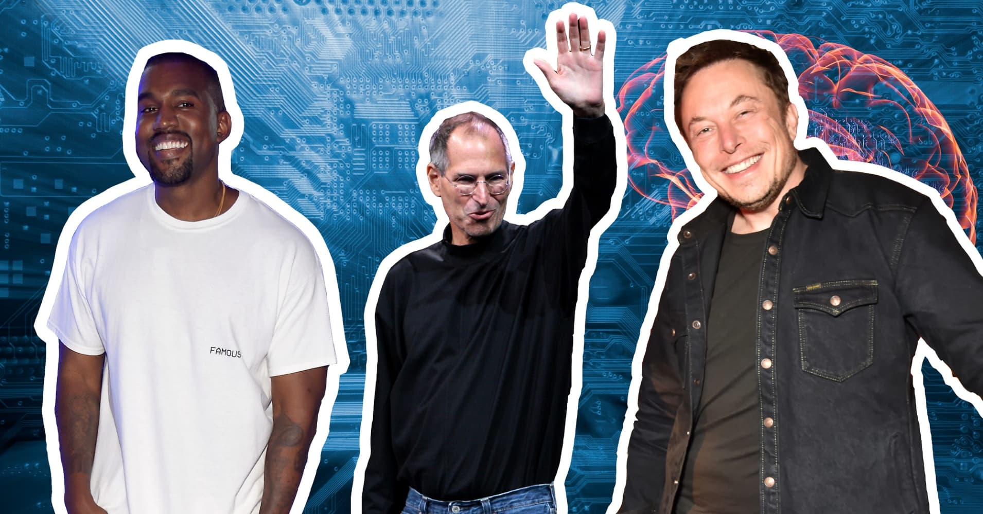 L-R: Musician and designer Kanye West, late Apple co-founder Steve Jobs and Tesla and SpaceX CEO Elon Musk.