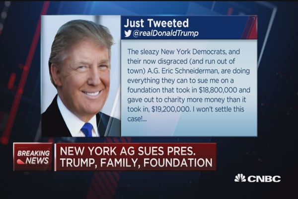 Trump tweets about New York AG lawsuit