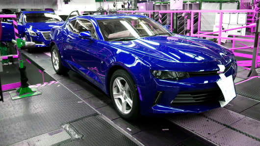 A General Motors Chevrolet Camaro rolls off the production line at GM's Lansing Grand River Assembly Plant in Lansing, Michigan.