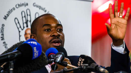 Nelson Chamisa, leader of Zimbabwe's main opposition party Movement for Democratic Change, speaks at the launch of his party's manifesto ahead of the July 30 general elections, on June 7, 2018, in Harare, Zimbabwe.