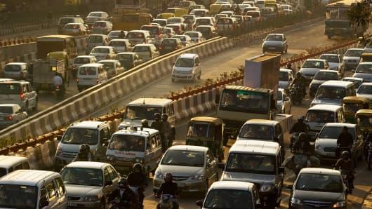 Rush-hour traffic in Delhi