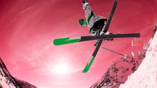 A snowbird skiing in Utah.