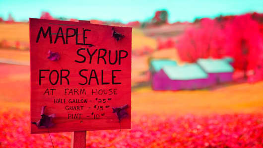 Maple Syrup for sale in Woodstock, Vermont.