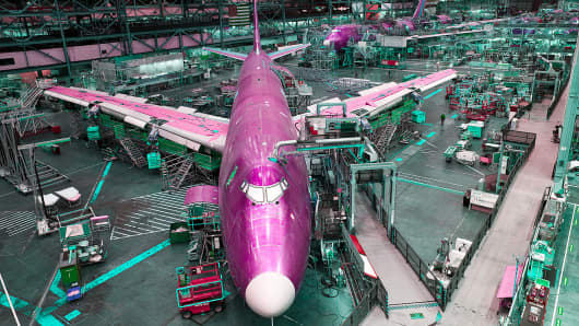 Boeing 747 jets are built in the company's factory at Paine Field in Everett, Washington.